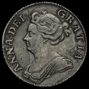 1708 Queen Anne Early Milled Silver Shilling Obverse