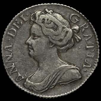 1710 Queen Anne Early Milled Silver Sixpence Obverse