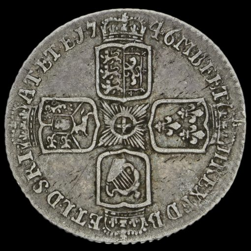 1746 George II Early Milled Silver Lima Sixpence Reverse
