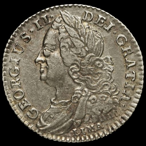 1745 George II Early Milled Silver Lima Sixpence Obverse