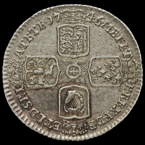 1745 George II Early Milled Silver Lima Sixpence Reverse