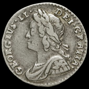 1752 George II Early Milled Silver Maundy Penny Obverse