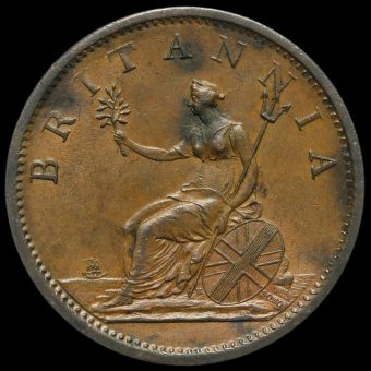 1807 George III Early Milled Copper Penny Reverse