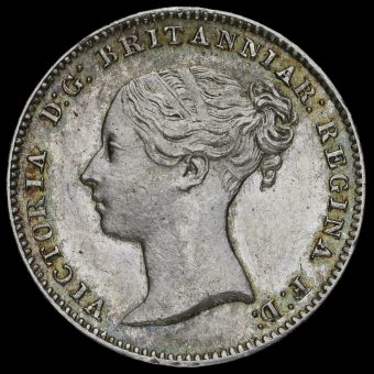 1850 Queen Victoria Young Head Silver Threepence Obverse