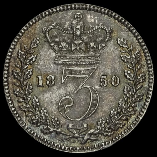 1850 Queen Victoria Young Head Silver Threepence Reverse