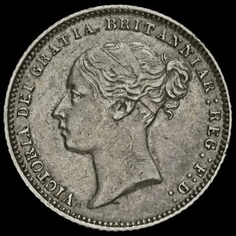 1872 Queen Victoria Young Head Silver Sixpence Obverse