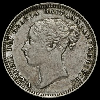 1873 Queen Victoria Young Head Silver Sixpence Obverse