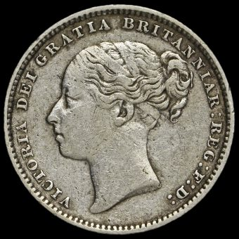 1883 Queen Victoria Young Head Silver Shilling Obverse