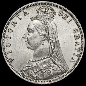 1887 Queen Victoria Jubilee Head Silver Half Crown Obverse