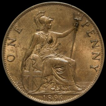 1896 Queen Victoria Veiled Head Penny Reverse