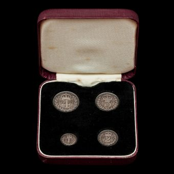1898 Queen Victoria Veiled Head Silver Maundy Set