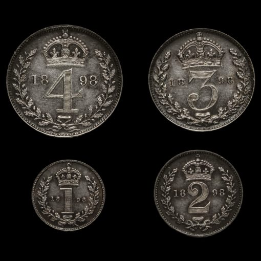 1898 Queen Victoria Veiled Head Silver Maundy Set Reverse