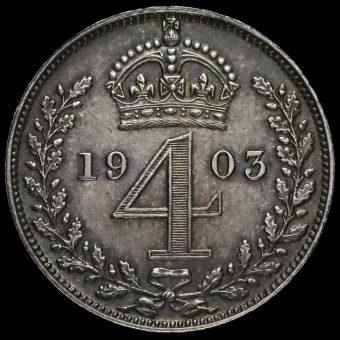 1903 Edward VII Silver Maundy Fourpence Reverse