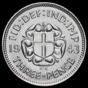 1943 George VI Silver Threepence Reverse
