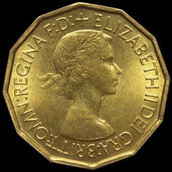 1953 Elizabeth II Threepence Obverse