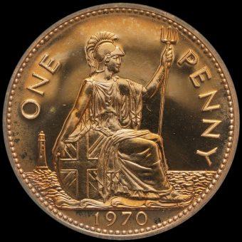 1970 Elizabeth II Proof Penny Reverse