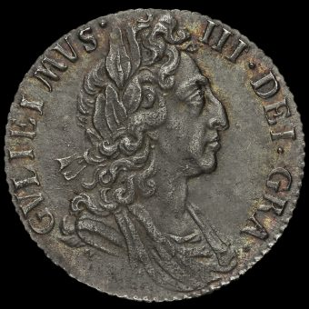 1697 William III Early Milled Silver Sixpence, Third Bust, GVLIEIMVS Error Obverse
