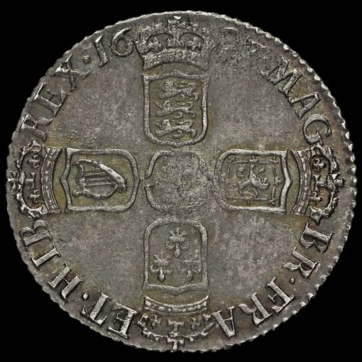 1697 William III Early Milled Silver Sixpence, Third Bust, GVLIEIMVS Error Reverse