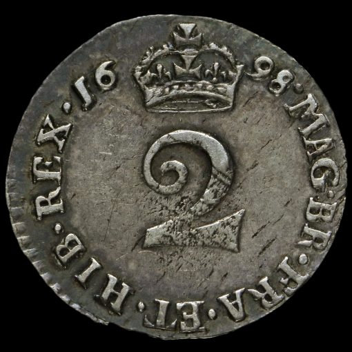 1698 William III Early Milled Silver Maundy Twopence Reverse
