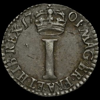 1701 William III Early Milled Silver Maundy Penny Reverse