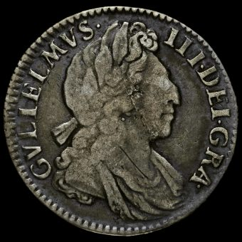 1702 William III Early Milled Silver Maundy Fourpence Obverse