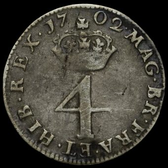 1702 William III Early Milled Silver Maundy Fourpence Reverse