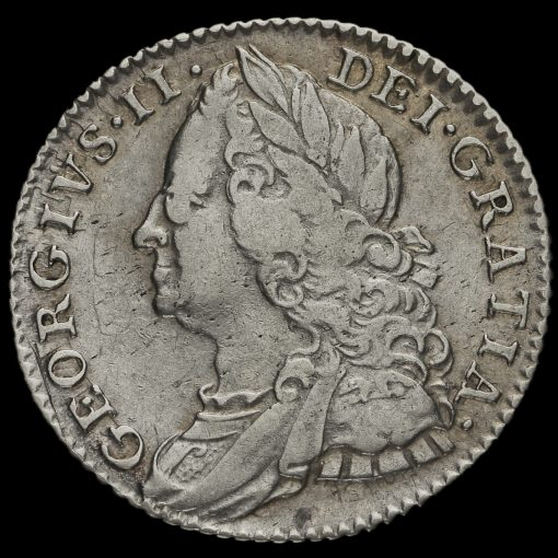 1758/7 George II Early Milled Silver Sixpence Obverse