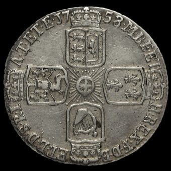 1758/7 George II Early Milled Silver Sixpence Reverse