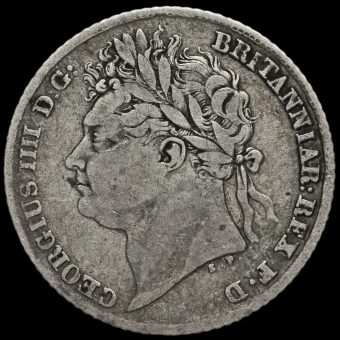 1824 George IV Milled Silver Sixpence Obverse