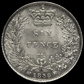 1839 Queen Victoria Young Head Silver Sixpence Reverse