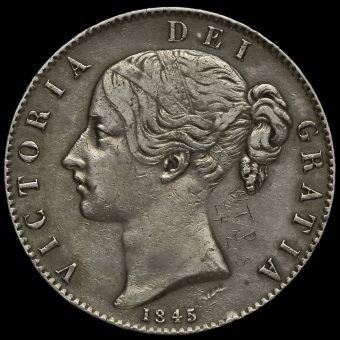 1845 Queen Victoria Young Head Silver Crown Obverse