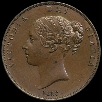 1853 Queen Victoria Young Head Copper Penny Obverse