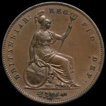 1853 Queen Victoria Young Head Copper Penny Reverse