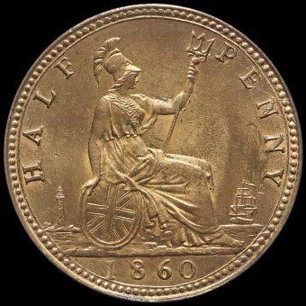 1860 Queen Victoria Bun Head Halfpenny Reverse