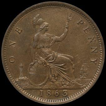 1863 Queen Victoria Bun Head Penny Reverse