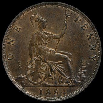1884 Queen Victoria Bun Head Penny Reverse