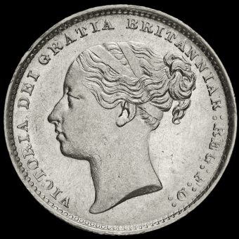 1886 Queen Victoria Young Head Silver Shilling Obverse