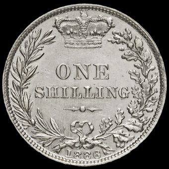 1886 Queen Victoria Young Head Silver Shilling Reverse