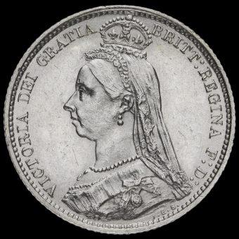 1887 VictoriaJubilee Head Sixpence Obverse
