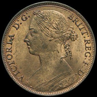 1892 Queen Victoria Bun Head Penny Obverse