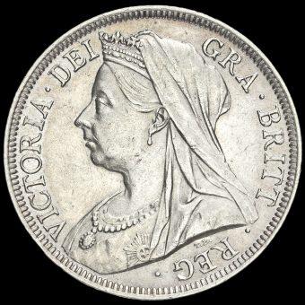 1900 Queen Victoria Veiled HeadSilver Half Crown Obverse