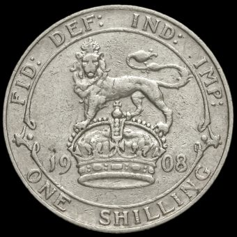 1908 Edward VII Silver Shilling Reverse
