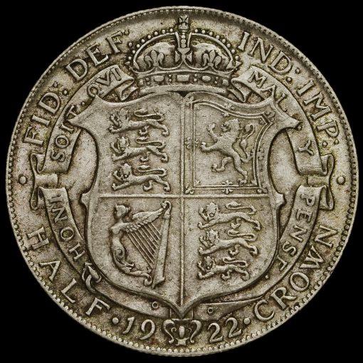 1922 George V Silver Half Crown Reverse