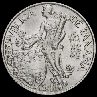 Panama 1947 Silver 1 Balboa Reverse