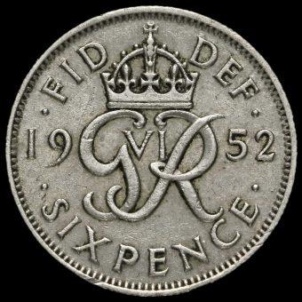 1952 George VI Sixpence Reverse