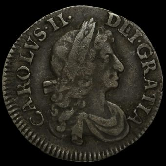 1683 Charles II Early Milled Silver Maundy Threepence Obverse