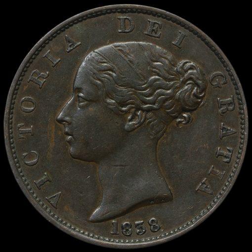 1838 Queen Victoria Young Head Copper Halfpenny Obverse