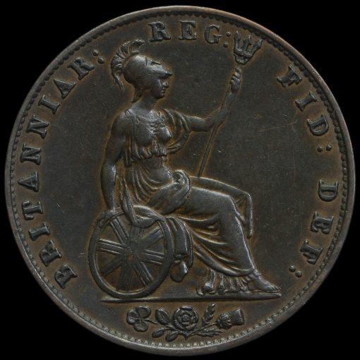 1838 Queen Victoria Young Head Copper Halfpenny Reverse