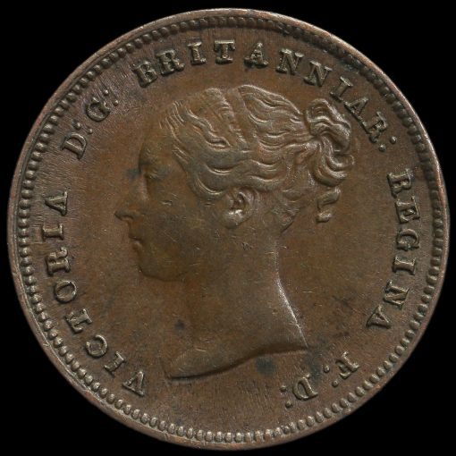 1844 Queen Victoria Young Head Half Farthing Obverse