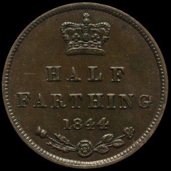 1844 Queen Victoria Young Head Half Farthing Reverse
